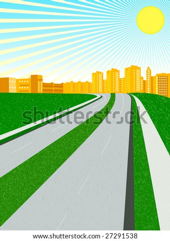 vector city in a sunny day; clip-art