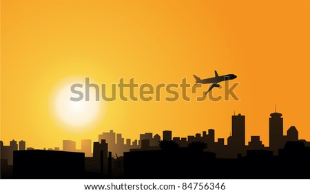 Vector city in sunset background vector image - stock vector