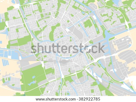 Vector City Map Groningen Netherlands Stock Vector 382922785