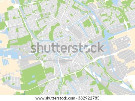 Vector City Map Groningen Netherlands Stock Vector (Royalty Free ...