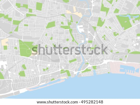 Vector City Map Kingston Upon Hull Stock Vector 495282148 Shutterstock