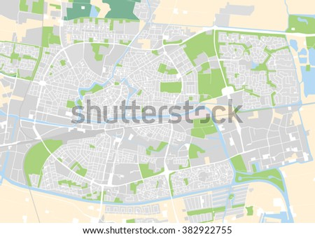 Vector City Map Leeuwarden Netherlands Stock Vector 382922755
