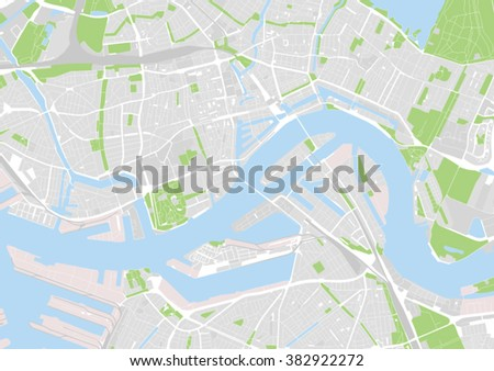 vector city map of Rotterdam, Netherlands