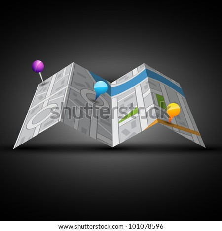 vector city map with labels - stock vector