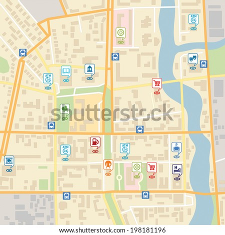 Vector city map with pin location pointers of services like hotel, hospital, supermarket, restaurant, park, shop, bus stop, library, theatre, cinema, garage or car parking. - stock vector