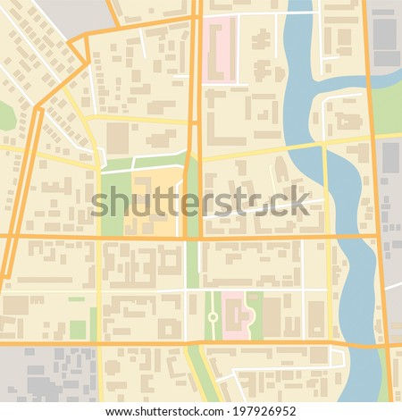 Vector city map with typical locations and objects like roads, houses, river, gardens, parks, industrial zones, hospitals and government. - stock vector