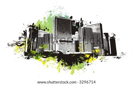 vector city scape,urban scene with grunge background