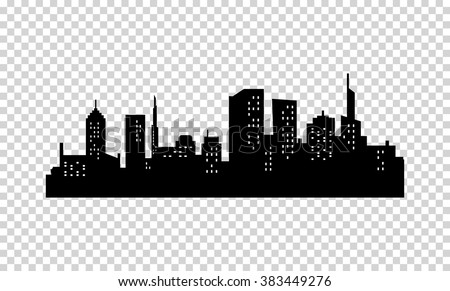 Vector City Silhouette. Black color. Panorama of Megapolis City. Skyscrapers in the Night with Lights in the Windows - stock vector