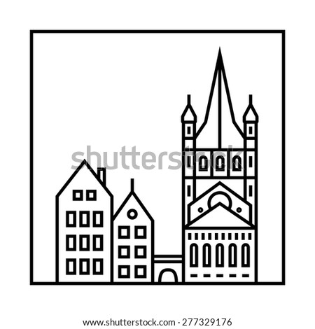 Vector city skyline and buildings. Cityscape icon - stock vector