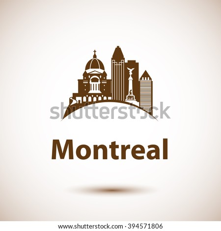Vector city skyline with landmarks Montreal Quebec Canada. Vector illustration can be used as logo - stock vector