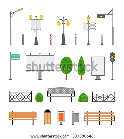 Vector city street urban elements icon set. Parks, alleys, streets and sidewalks decoration elements. Lights and outdoor elements for construction of city, park and outdoor landscapes. - stock vector
