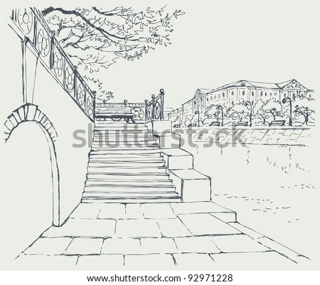Vector cityscape. An old stone quay. Steps to the alley with a bench to rest - stock vector