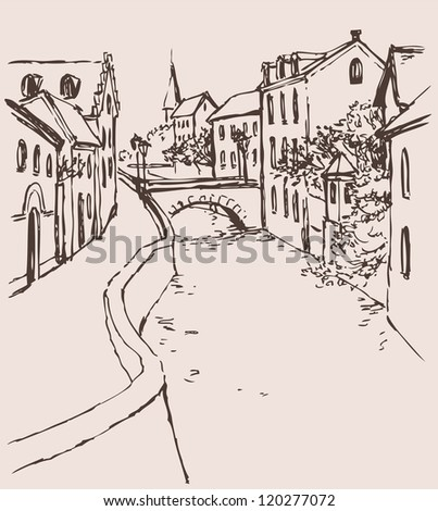 Vector cityscape of the narrow medieval street with bridge over the canal