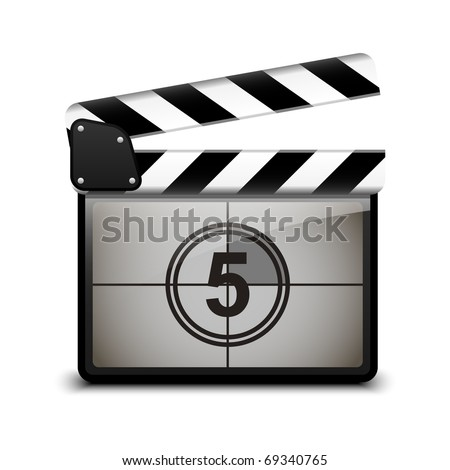 Vector clap board with countdown - stock vector
