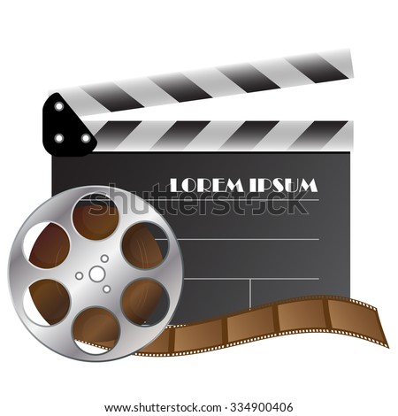 vector clapper and film strip for cinematography industry