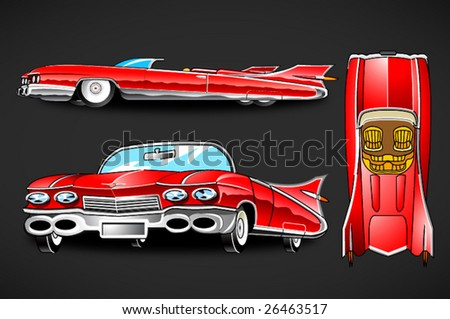 Vector classic american car. - stock vector