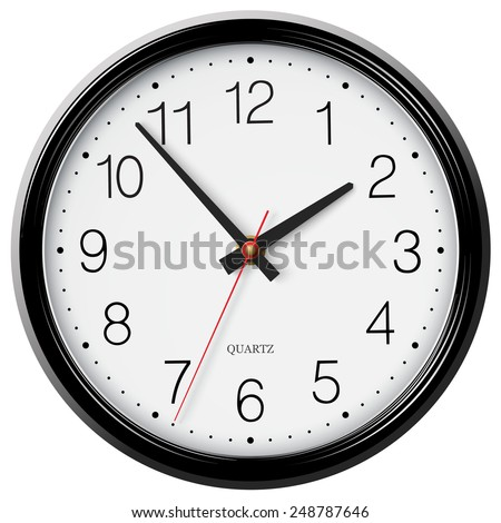 Vector classic black wall circular clock with round points - stock vector
