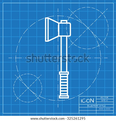 Vector classic blueprint axe icon on stock vector 325261295 vector classic blueprint of axe icon on engineer and architect background malvernweather Choice Image