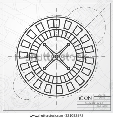 Vector classic blueprint of casino roulette wheel icon on engineer and architect background