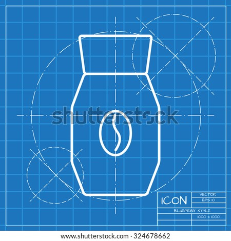 Vector classic blueprint coffee bottle template stock vector vector classic blueprint of coffee bottle template on engineer and architect background malvernweather Images