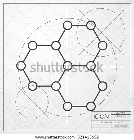 Vector classic blueprint of graphene icon on engineer and architect background . Science illustration  - stock vector