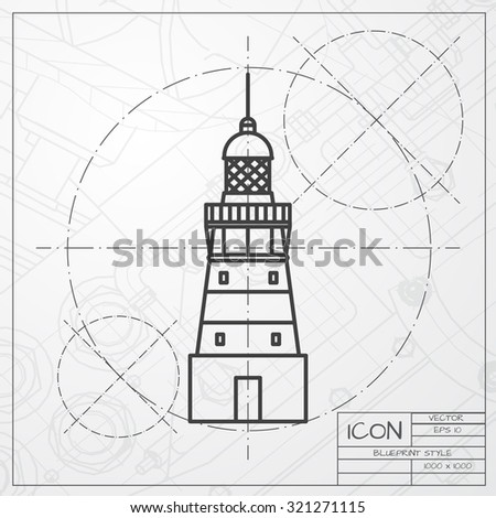 Vector classic blueprint lighthouse icon on stock vector 321271115 vector classic blueprint of lighthouse icon on engineer and architect background malvernweather Images