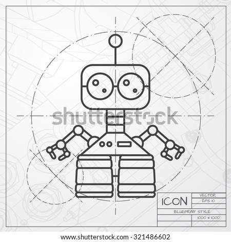 Vector classic blueprint retro robot toy vectores en stock 321486602 vector classic blueprint of retro robot toy icon on engineer and architect background malvernweather Images