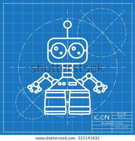 Vector classic blueprint retro robot toy vector de stock325141832 vector classic blueprint of retro robot toy icon on engineer and architect background malvernweather Images