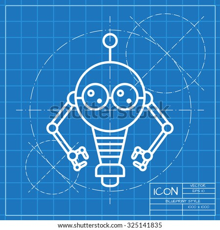 Vector classic blueprint retro robot toy stock vector 325141835 vector classic blueprint of retro robot toy icon on engineer and architect background malvernweather Images