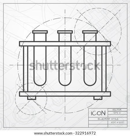 Vector flat testtube icon set 3 stock vector 413626579 shutterstock vector classic blueprint of test tube icon on engineer and architect background malvernweather Images