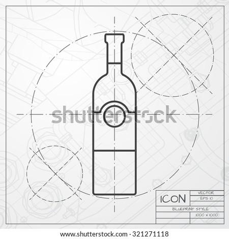 vector classic blueprint vine bottle template stock vector 321271118