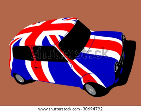 vector classic british mini car with flag of uk / great britain