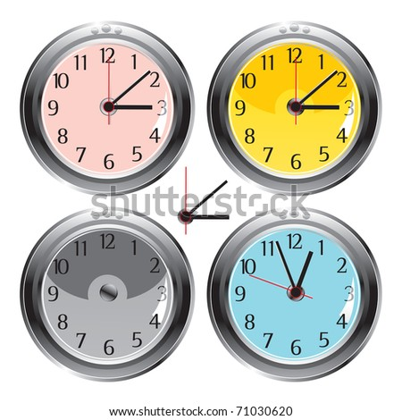 vector / classic different color wall clocks