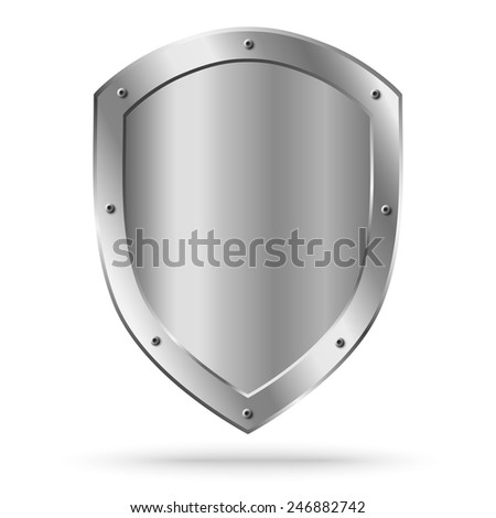 Vector classic empty metal shield isolated - stock vector