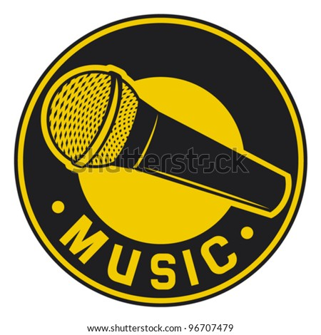 Vector Classic Microphone symbol (badge, sign, sign) - stock vector