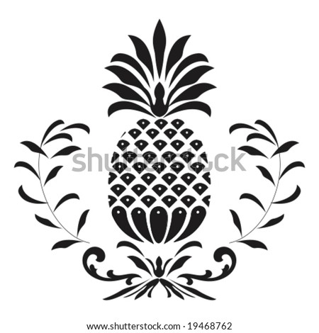 Vector: classic ornament with pineapple