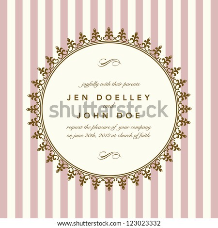 Vector Classic Round Gold Frame. Easy to edit. Perfect for invitations or announcements. - stock vector