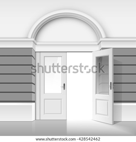 Vector Classic Shop Museum Boutique Building Store Front with Open Front Glass Door and Place for Name Isolated on White Background - stock vector