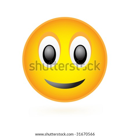 Vector classic smile face isolated on white - stock vector