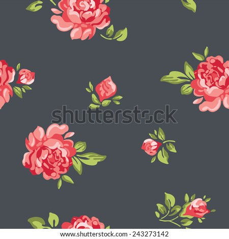 Vector classic vintage inspired seamless floral pattern wallpaper with colorful roses - stock vector