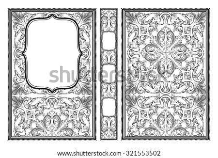 Vector classical book cover. Decorative vintage frame or border to be printed on the covers of books. Drawn by the standard size. - stock vector