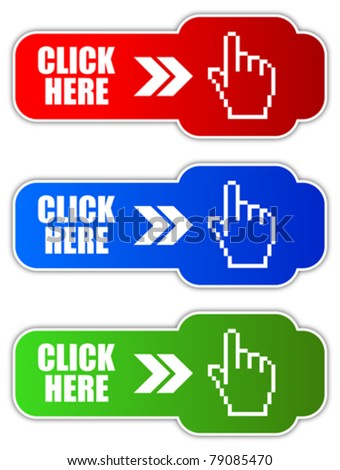Vector click here button, eps10 - stock vector