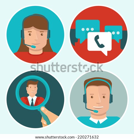 Vector client service flat icons on round backgrounds - man and woman call center operators - stock vector