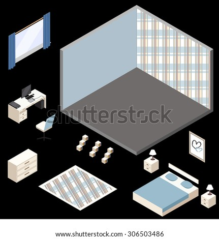 vector clip art blue  isometric room  - stock vector
