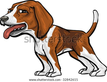 Vector Clip Art Caricature Illustration Basset Stock Vector ...