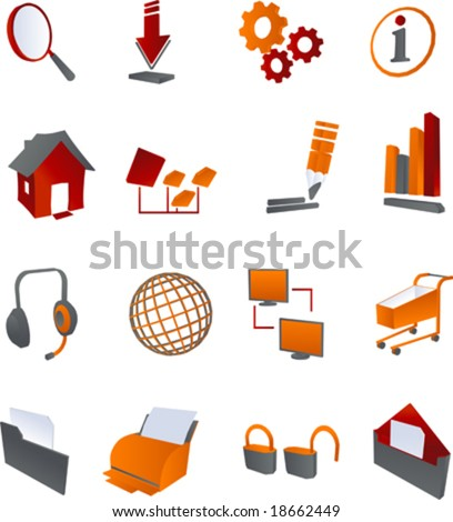 vector clip art icons and symbols for websites and internet in red, orange and grey linear gradients