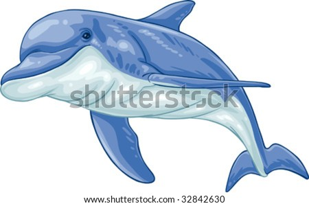 Vector clip art illustration dolphin. Hand drawn artwork in loose, expressive style with NO gradients or blends. - stock vector