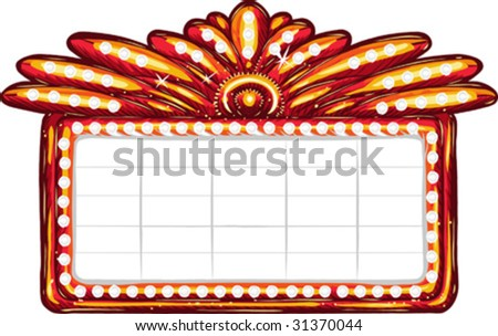 Vector, clip art illustration of billboard sign with plenty of copy space, lit by light bulbs. Hand drawn artwork in loose, expressive style with NO gradients or blends. - stock vector
