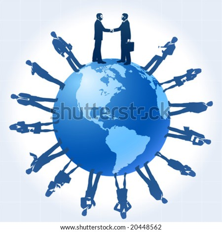 vector clip art illustration of business people silhouettes around the globe. The two central figures are doing a handshake - stock vector