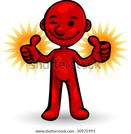 Vector, Clip Art illustration of little red Smartoon person smilling, winking and giving two thumbs up. Hand drawn artwork. - stock vector